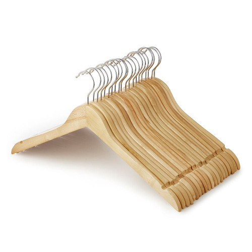 Wooden Flat Profile Hangers with Shoulder Notches - 45cm