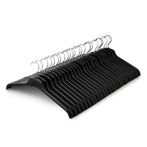 Pack of Black Plastic Knitwear Hangers with Textured Arms