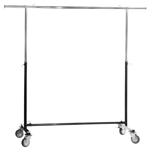 Black & Chrome Adjustable Clothes Rail With Heavy Duty Wheels