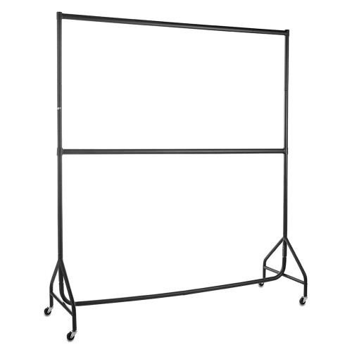 Black 2-Tier Reinforced 6ft Wide Heavy-Duty Clothes Rail