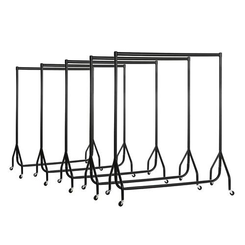 5 x Black 4ft Wide Heavy-Duty Clothes Rails