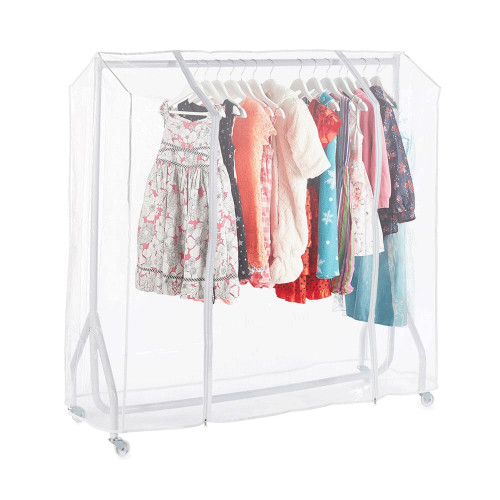 White 4ft Wide Children's Heavy-Duty Clothes Rail With Clear Cover