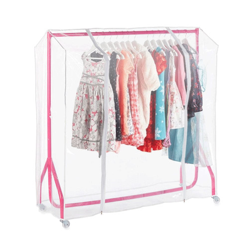 Pink 4ft Wide Children's Heavy-Duty Clothes Rail With Clear Cover
