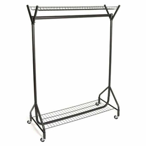 Black Heavy-Duty Clothes Rail With Top and Bottom Shelf
