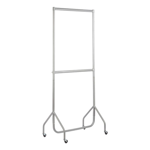 2-Tier Silver Heavy-Duty Clothes Rail - 3ft