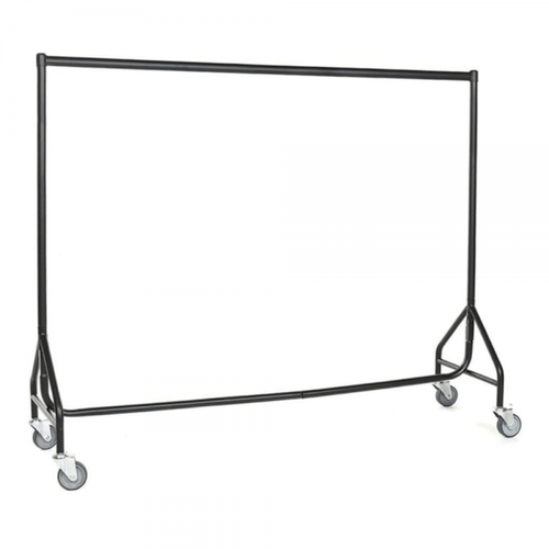 Reinforced Black Heavy-Duty Clothes Rail With Heavy Duty Wheels