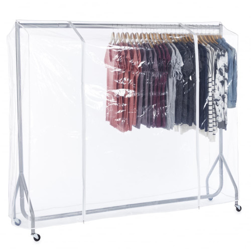 Silver Heavy-Duty Clothes Rail With Clear Cover