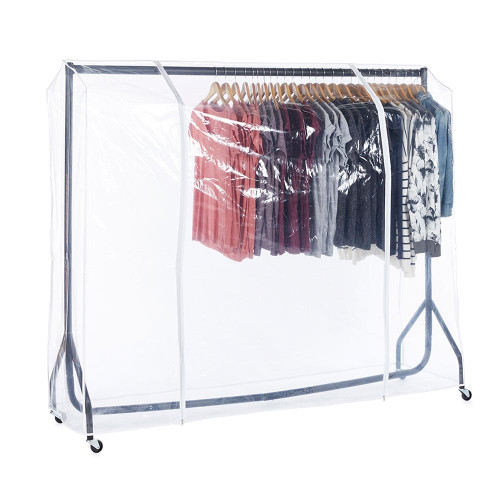Black Heavy-Duty Clothes Rail With Clear Cover