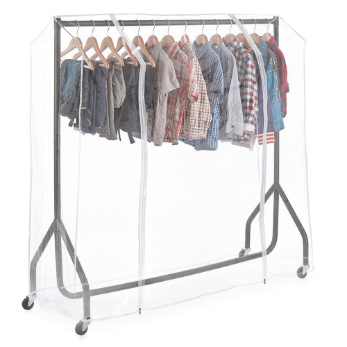 Childrens Black Heavy-Duty Clothes Rail With Clear Cover