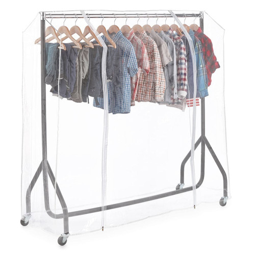 Childrens Black & Chrome Heavy-Duty Clothes Rail With Clear Cover