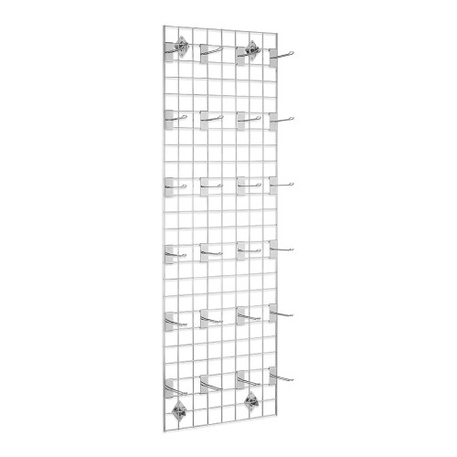 6ft Wall-Mounted Grid Mesh Display Bundle with 24 x Eurohooks