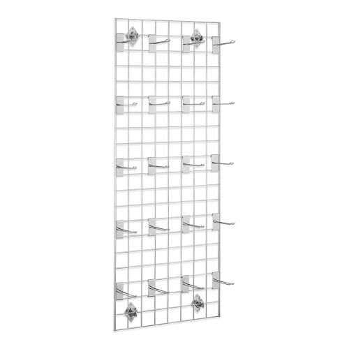 5ft Wall-Mounted Grid Mesh Display Bundle with 20 x Eurohooks