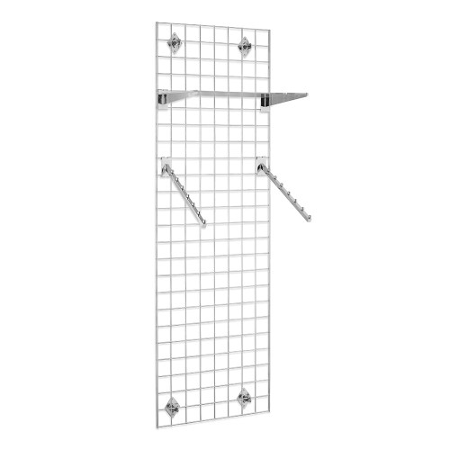 6ft Wall-Mounted Grid Mesh Display Bundle with 1 x Acrylic Shelf, 2 x Sloping Arms