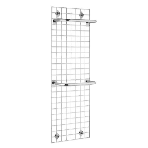 6ft Wall-Mounted Grid Mesh Display Bundle with 2 x Hanging Rails