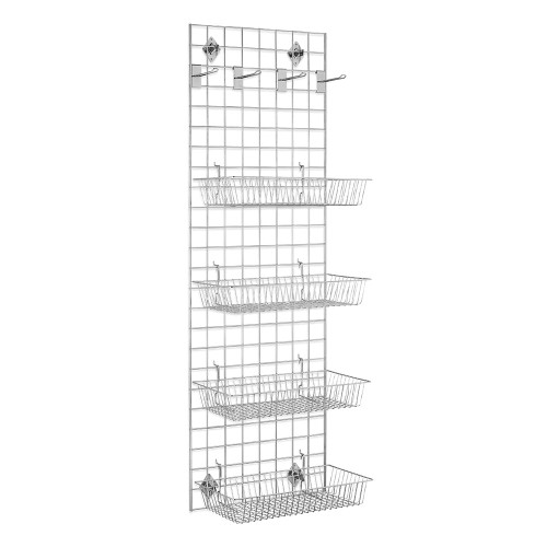 6ft Wall-Mounted Grid Mesh Display Bundle with 4 x Wire Baskets, 4 x Eurohooks