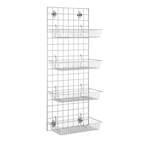 5ft Wall-Mounted Grid Mesh Display Bundle with 4 x Wire Baskets