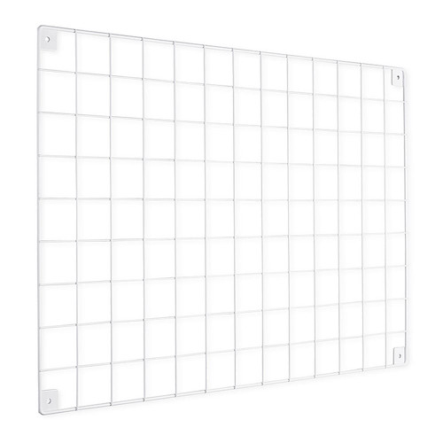 White Grid Mesh Panel - Built-in Wall Brackets