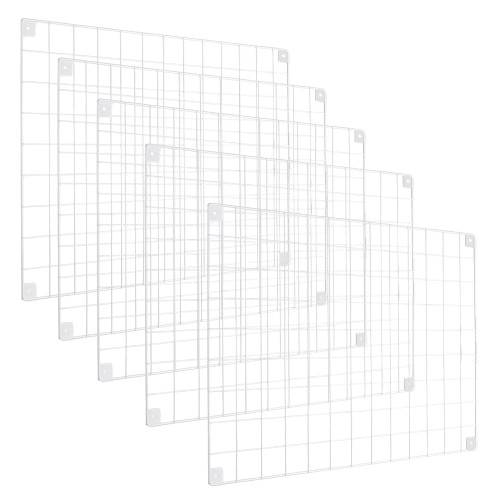 5 x White Grid Mesh Panels - Built-in Wall Brackets