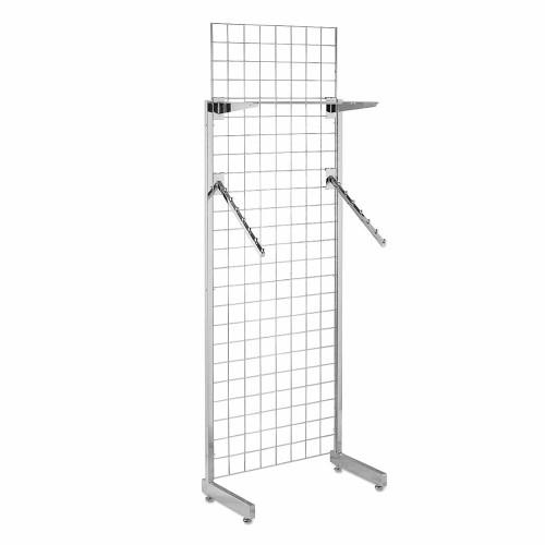 6ft Single-Sided Grid Mesh Display Bundle With 1 x Acrylic Shelf, 2 x Sloping Arms