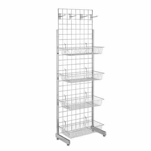 6ft Single-Sided Grid Mesh Display Bundle With 4 x Wire Baskets, 4 x Euro Hooks