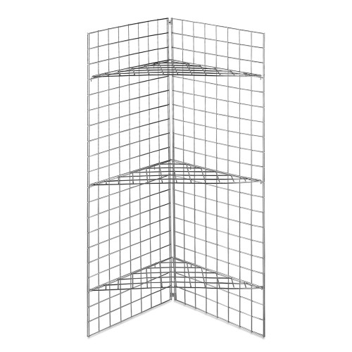 5ft Freestanding Grid Mesh Display Bundle With 2 x Panels, 3 x Wire Baskets