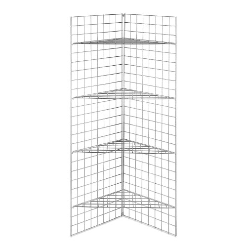 6ft Freestanding Grid Mesh Display Bundle With 2 x Panels, 4 x Wire Shelves