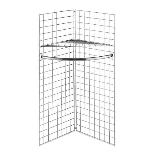 5ft Freestanding Grid Mesh Display Bundle With 2 x Panels, 1 x Wire Shelf, 1 x Hanging Rail