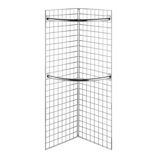 6ft Freestanding Grid Mesh Display Bundle With 2 x Panels, 2 x Hanging Rails