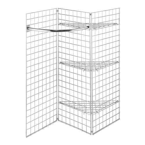 5ft Freestanding Grid Mesh Display Bundle - 3 x Panels, 1 x Hanging Rails, 3 x Wire Shelves