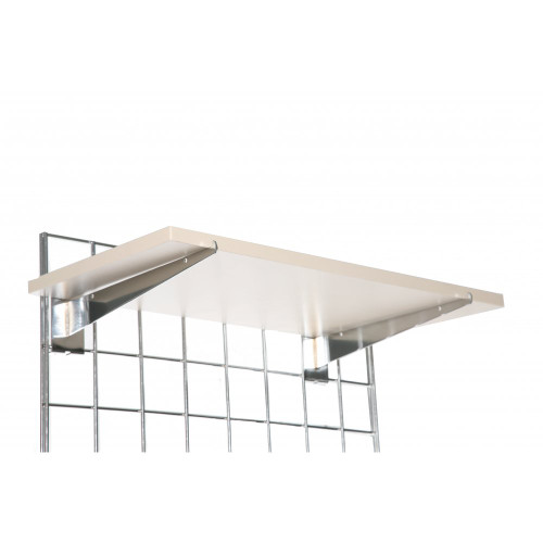 Wooden Shelf With Brackets For Grid Mesh Panels - W600 x D300
