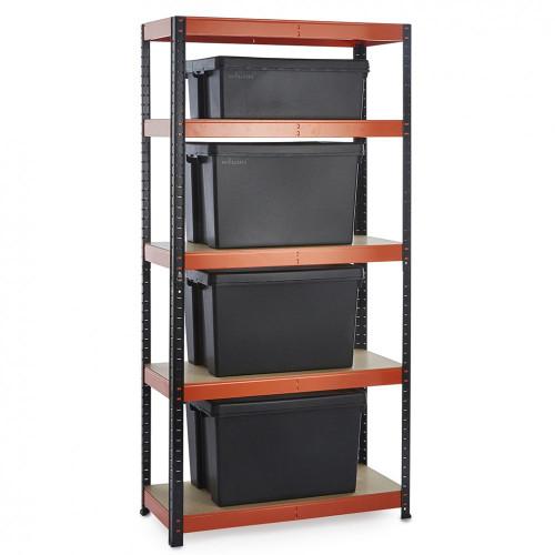 Multipurpose Commercial Shelving plus 4 Boxes - 250Kg UDL/shelf - H1800 x W900 x D400mm