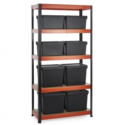 Multipurpose Commercial Shelving plus 8 Boxes - 250Kg UDL/shelf - H1800 x W900 x D400 mm