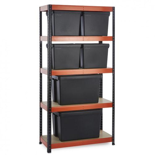 Multipurpose Commercial Shelving plus 6 Boxes - 250Kg UDL/shelf - H1800 x W900 x D400mm