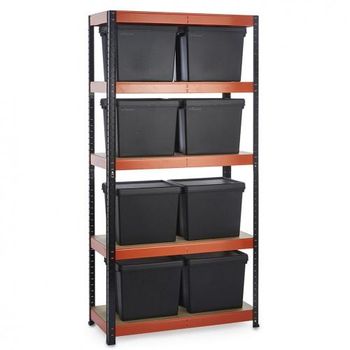 Multipurpose Commercial Shelving plus 8 Boxes - 250Kg UDL/shelf - H1800 x W900 x D400mm