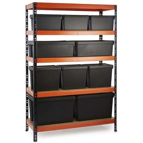Multipurpose Commercial Shelving plus 10 Boxes - 350Kg UDL/shelf - H1800 x W900 x D400mm