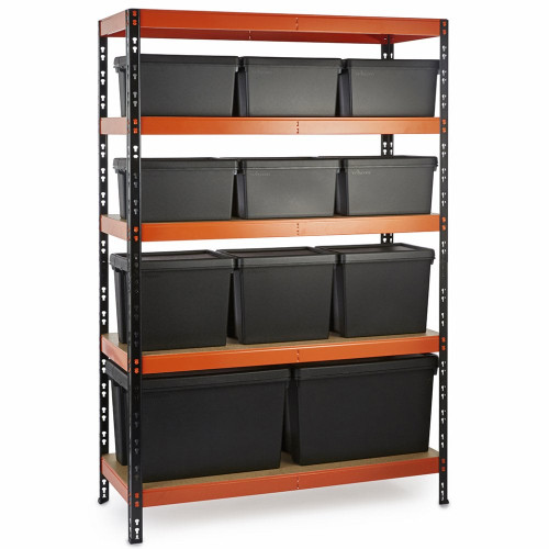 Multipurpose Commercial Shelving plus 11 Boxes - 350Kg UDL/shelf - H1800 x W1200 x D500mm