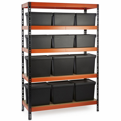 Multipurpose Commercial Shelving plus 12 Boxes - 350Kg UDL/shelf - H1800 x W1200 x D500mm
