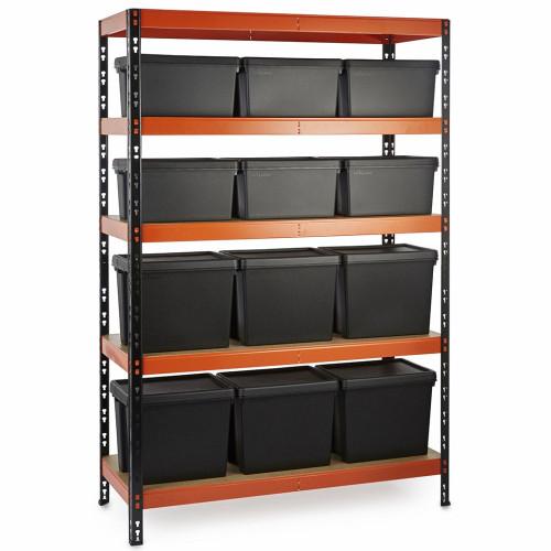Multipurpose Commercial Shelving plus 12 Boxes - 350Kg UDL/shelf - H1800 x W1200 x D500mm