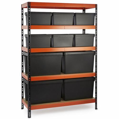 Multipurpose Commercial Shelving plus 10 Boxes - 350Kg UDL/shelf - H1800 x W1200 x D500mm