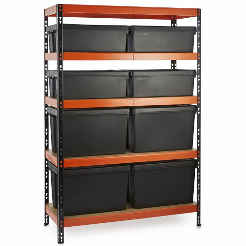 Multipurpose Commercial Shelving plus 8 Boxes - 350Kg UDL/shelf - H1800 x W1200 x D500mm