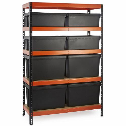 Multipurpose Commercial Shelving plus 8 Boxes - 350Kg UDL/shelf - H1800 x W1200 x D500mm