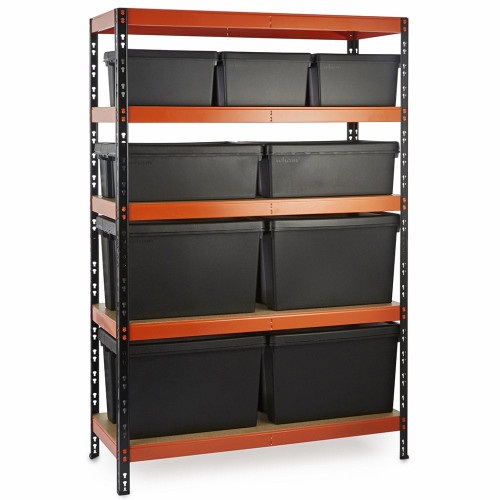 Multipurpose Commercial Shelving plus 9 Boxes - 350Kg UDL/shelf - H1800 x W1200 x D500mm