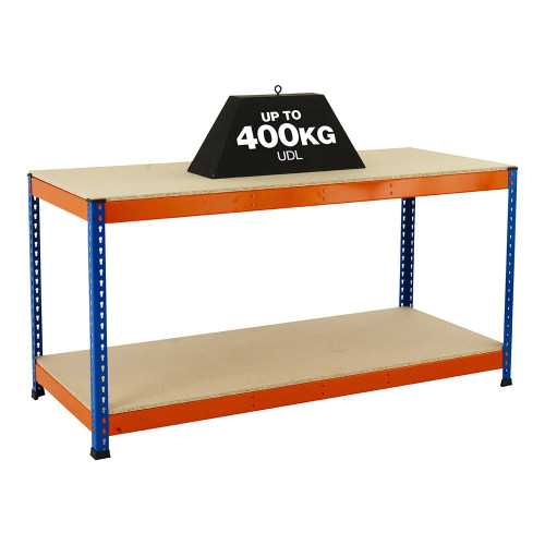 Heavy Duty Workbench With 2 x Chipboard Shelves - Up To 400kg UDL