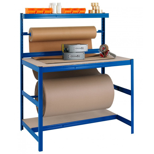 Blue Packing Bench With Chipboard Shelves, 2x Reel Bars - Up To 300kg UDL