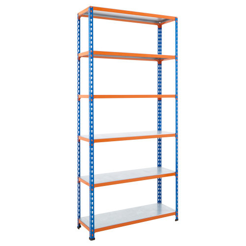 Commercial Shelving With 6 x Galvanised Shelves - H1980 x W915mm - 340kg Max UDL/Shelf