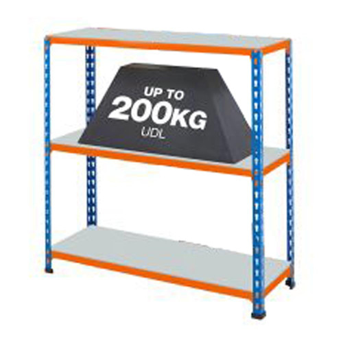 Multipurpose Commercial Shelving With 3 x Galvanised Shelves - H915 x W915mm - 200kg Max UDL/Shelf