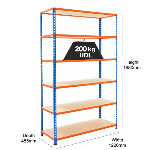 Stockroom Shelving With 6 x Chipboard Shelves - H1980 x W1220mm - 200kg Max UDL/Shelf