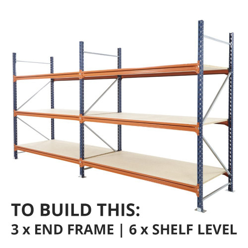 Mecalux Longspan Warehouse Racking Shelf, Depth: 900mm - Up to 450kg UDL/Shelf