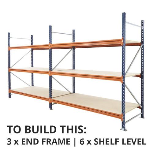 Mecalux Longspan Warehouse Racking Shelf, Depth: 600mm - Up to 850kg UDL/Shelf