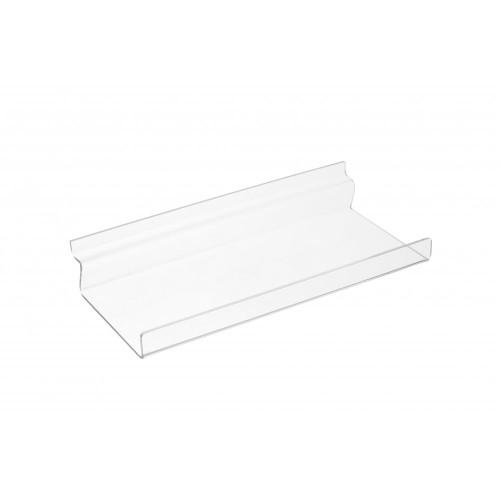 Clear Acrylic Slatwall Shelf with Front Lip - W250 x D100mm